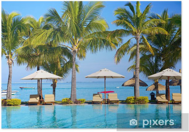 Swimming pool with umbrellas on beach in Mauritius Poster - Destinations