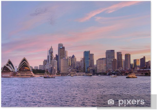 Sydney, Pink Sunset 1 Poster - Themes