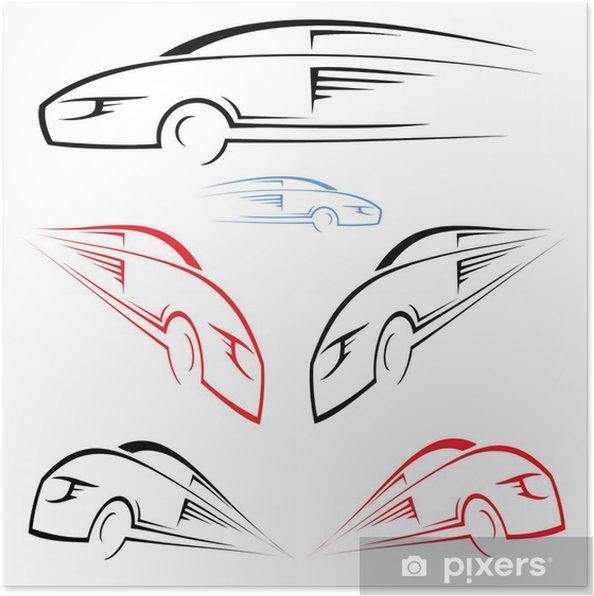 Poster Symbole de voiture rapide - Sur la route
