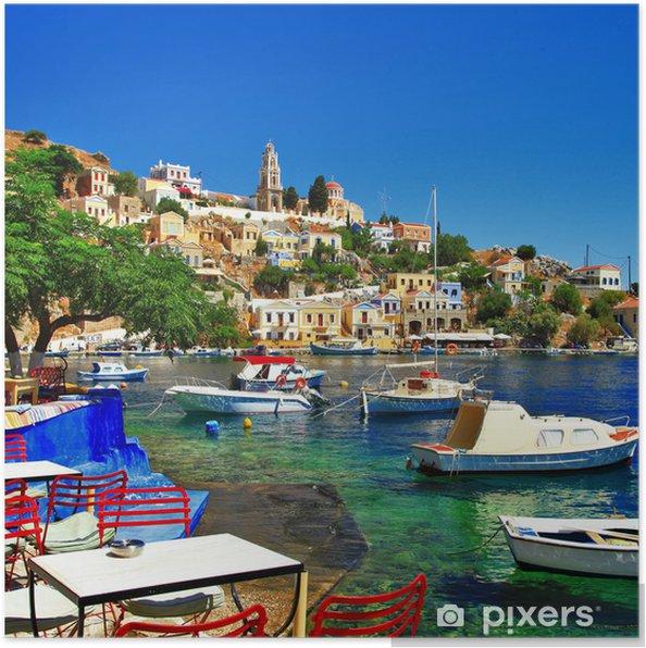 Poster Symi - coloré petite île traditionnelle de Dodécanèse, Grèce - Thèmes
