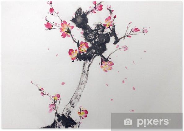 Poster Tak van de kersenbloesem - Bloemen en Planten