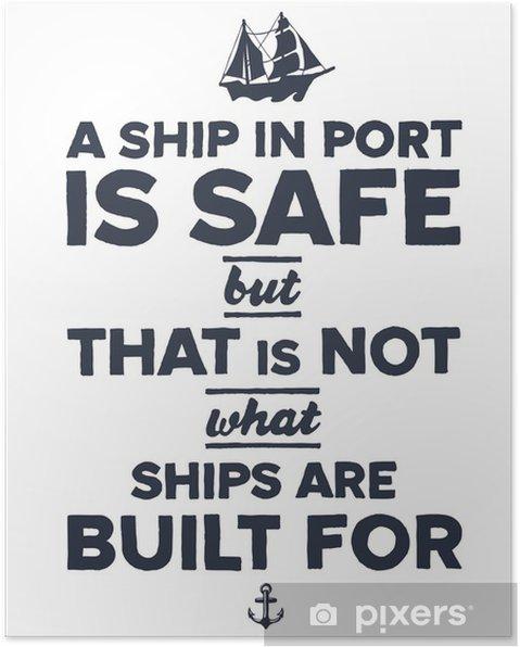 Poster Tappning nautisk illustration -