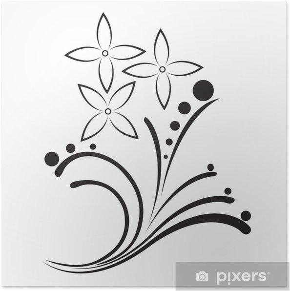 Poster Tatouage Noir Et Blanc Dans Le Motif De Fleur