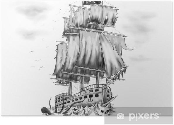 Poster Tatouage Oeuvre Bateau Pirate Vaisseau Fantome Pixers Nous Vivons Pour Changer