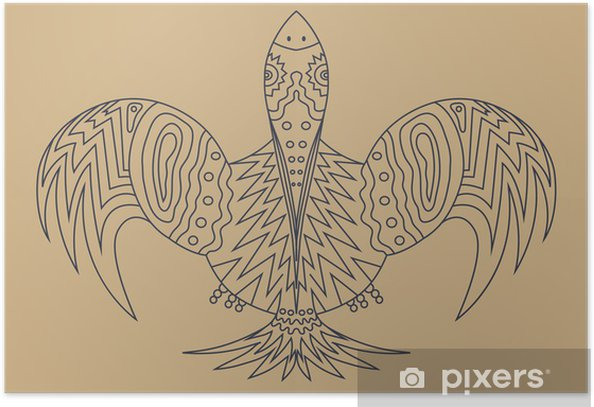 Tattoo Blue Fantasy Bird Is The Bird Of Happiness Poster
