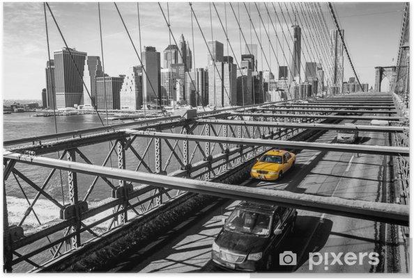 Poster Taxi traversant le pont de Brooklyn à New York -