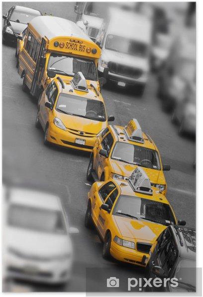 Taxis et school bus à Manhattan - New York USA Poster - Destinations