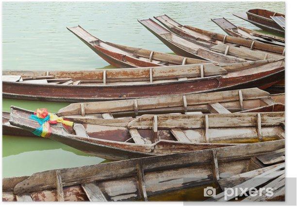 teak wood boat Poster
