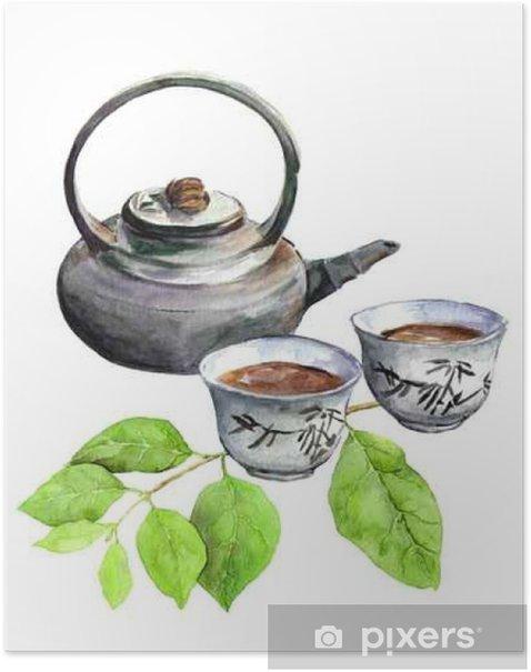 Poster Teatime: pot de thé asiatique, tasse de thé et feuilles vertes. Aquarelle - Boissons