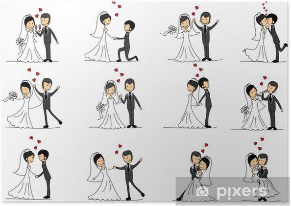 a8526c449dd1 Poster Tecknad bröllop bilder • Pixers® - Vi lever för förändring