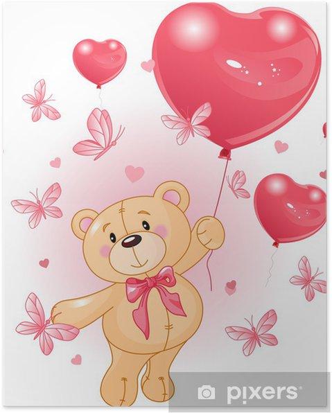 Póster Teddy de San Valentín - Para niña