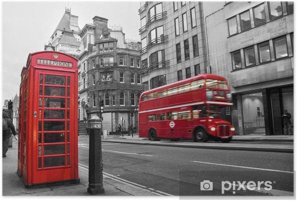 Poster Telefooncel en rode bus in Londen (UK) - Stijlen