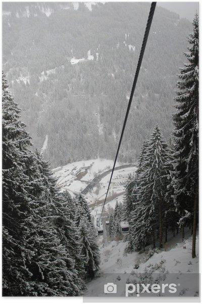 Poster Téléphérique dans Pedrazzo, Dolomites, Italie - Europe