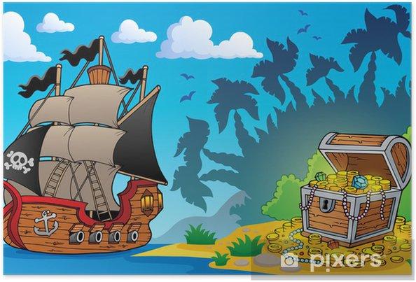 Póster Tema de pirata con cofre del tesoro 1 -