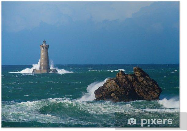Poster Tempête sur le phare du four, Bretagne - Catastrophes naturelles