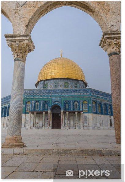 Poster Temple Mount View à travers une arche - Moyen Orient