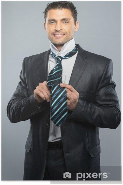 qualité parfaite arrive magasiner pour véritable Poster Tenue soignée bel homme en costume noir et cravate