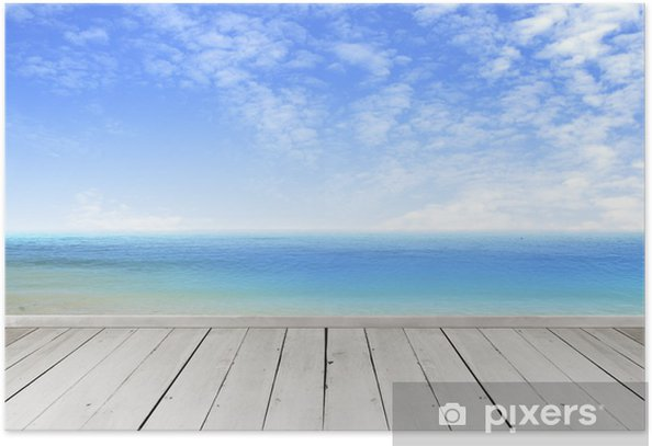 Poster Terrasse en bois donnant sur un ciel de nuages tropical et vue sur la mer. - Merveilles naturelles