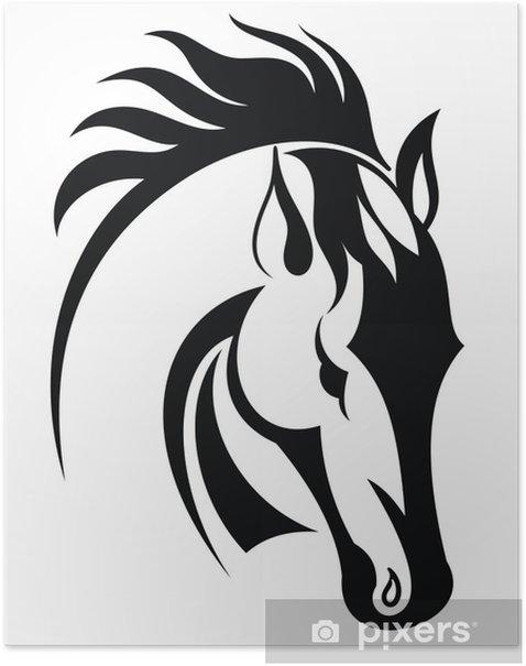 Poster Tete cheval - Mammifères