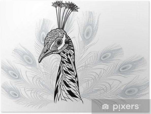 Poster Tête d'oiseau de paon comme symbole de mascotte ou de la conception de l'emblème - Passe-temps et loisirs