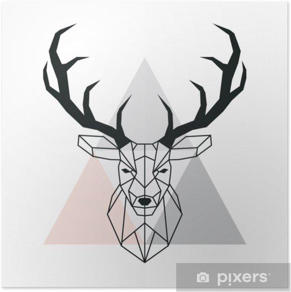 Poster t te de cerf g om trique de vecteur t te de cerf et bois dessin animalier de style poly - Dessin de tete de cerf ...