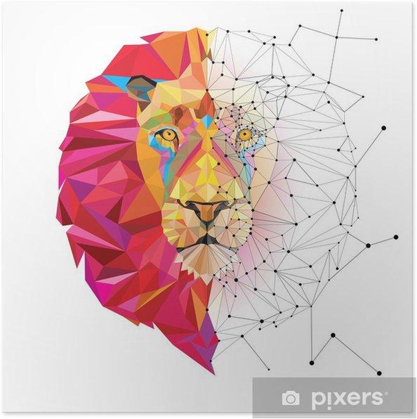 Poster Tete De Lion En Motif Geometrique Avec Le Vecteur De Ligne