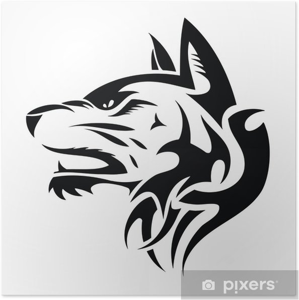 Poster Tête De Loup Illustration Tatouage Tribal