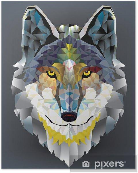 Poster Tête de loup motif géométrique. vecteur - Husky
