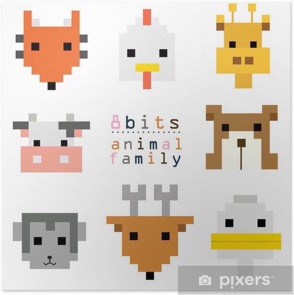 Poster Tête Pixel Art Animal