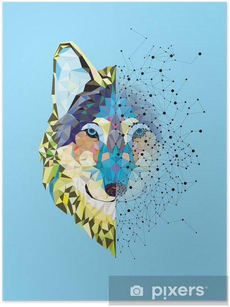 Poster Tête Wolf en motif géométrique avec le vecteur de ligne étoile - Mammifères