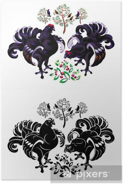 Poster Tétras lyre - Oiseaux