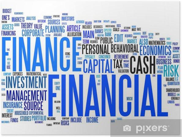 Poster Texte financière nuage - Signes et symboles