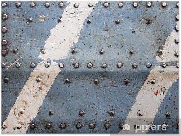 Poster Textuur van het metaal met klinknagels, vliegtuigromp - Thema's