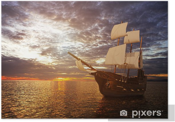 The ancient ship in the sea Poster - Sea and ocean