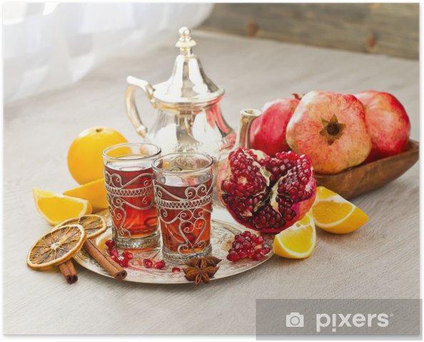 Poster Thé arabe traditionnelle avec théière et fruits métal - Afrique