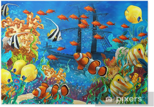 The coral reef - illustration for the children Poster - Coral reef