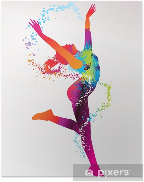The dancing girl with colorful spots and splashes on a light bac Poster -