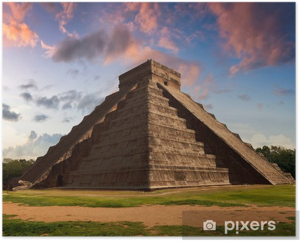 The Feather Serpent - Equinox in Kukulkan Pyramid, Chichen Itza Poster - America