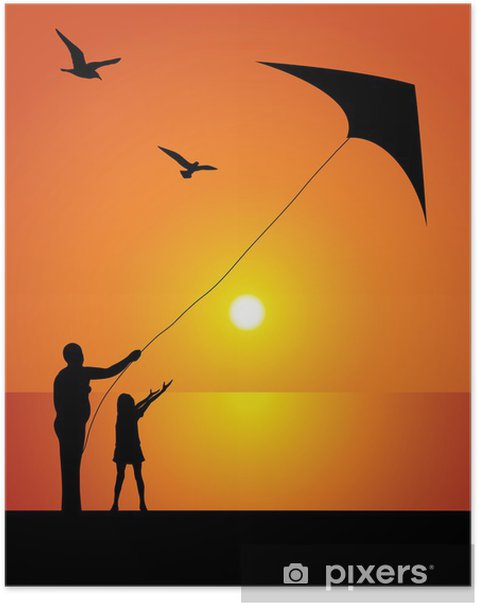 The girl and kite Poster - Holidays
