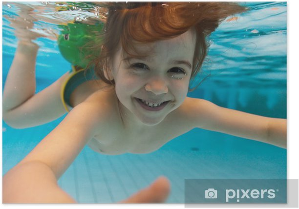 The girl smiles, swimming under water in the pool Poster - Holidays