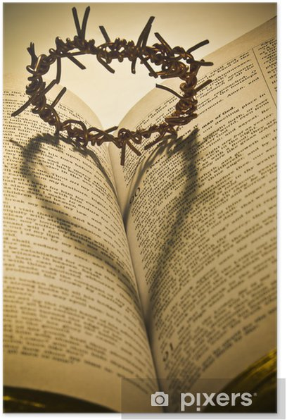 The Holy Bible and the Crown of Thorns Poster - Abstract