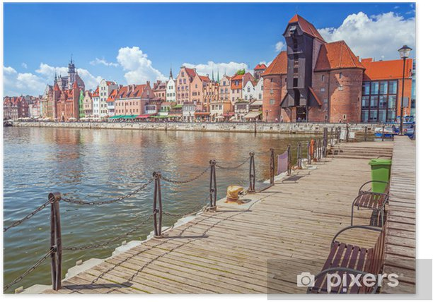 The medieval port crane over Motlawa river in Gdansk, Poland Poster - Themes