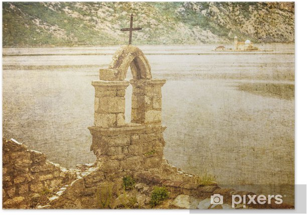 The old church overlooking the sea in bad weather Poster - Europe