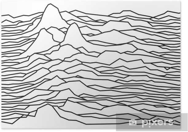 The rhythm of the waves, the pulsar, vector lines design, broken lines, mountains Poster - Graphic Resources