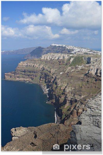 The Volcanic Caldera At Santorini Island In Greece Poster