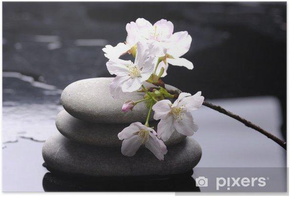 Poster Therapie stenen met witte bloem - Wonderen der Natuur