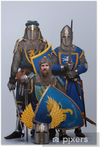 Three medieval knights isolated on grey background. Poster - Men