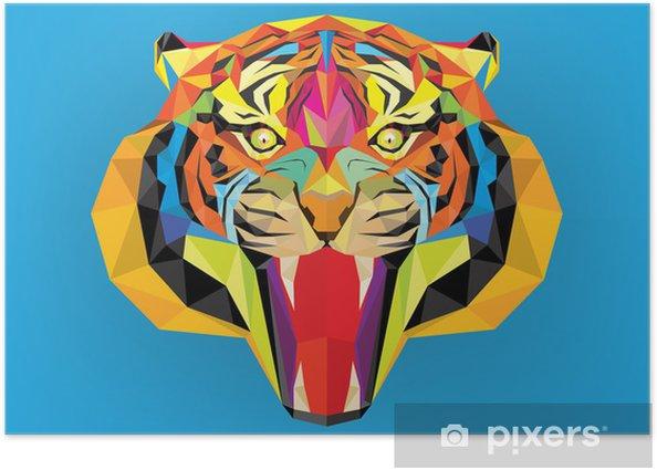 Poster Tiger tête avec style géométrique - Mammifères