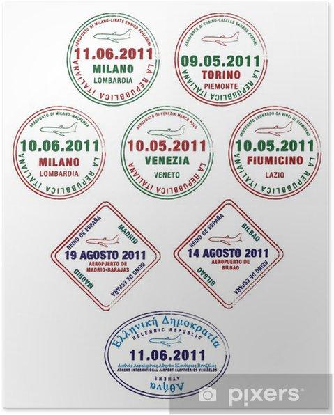 Poster Timbres de passeport de la France, l'Italie et la Grèce - Vacances