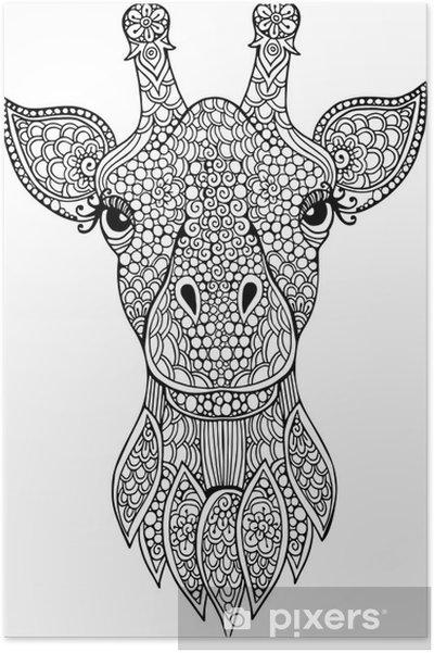 Coloriage Tete De Girafe A Imprimer.Poster Tire Par La Main Doodle Tete De Girafe Illustration Pour